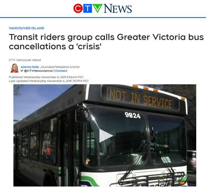 Transit riders group calls Greater Victoria bus cancellations a 'crisis'