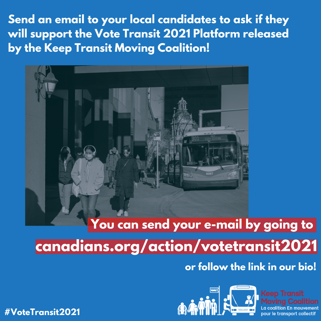 BTA News: Write to federal election candidates today! – Transit webinar Sept 28